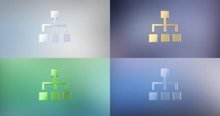 jerarquia: Jerarquía de la red 3d icono en el fondo del gradiente