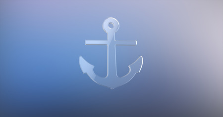 3d boat: Sea Anchor Glass 3d Icon on Gradient Background
