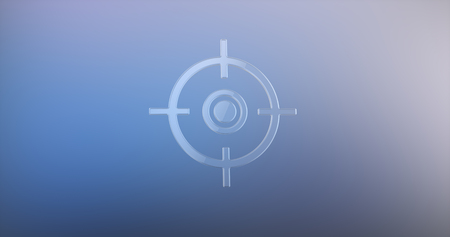 Target Crosshair Glass 3d Icon on Gradient Background