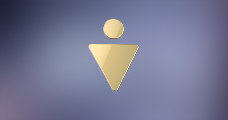 gent's: Gents Sign Gold 3d Icon on Gradient Background