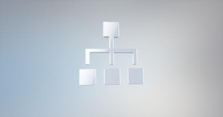 jerarquia: Jerarquía de la red Blanco 3d icono en el fondo del gradiente