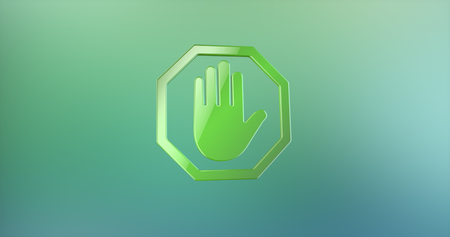color 3d: Stop Hand Color 3d Icon on Gradient Background