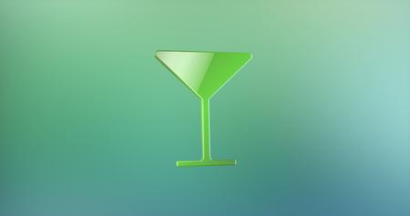 color 3d: Wineglass Color 3d Icon on Gradient Background