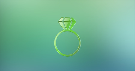 color 3d: Diamond Ring Color 3d Icon on Gradient Background Stock Photo