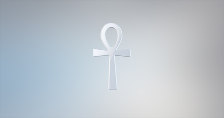 ankh cross: Ankh White 3d Icon on Gradient Background Stock Photo