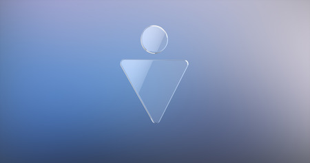 gent's: Gents Sign Glass 3d Icon on Gradient Background Stock Photo