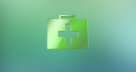 color 3d: First Aid Medical Kit Color 3d Icon on Gradient Background Stock Photo
