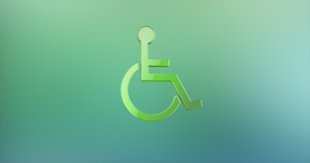 paralyzed: Wheelchair Disabled ISA Access Color 3d Icon Stock Photo