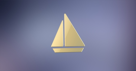3d boat: Sea Boat Gold 3d Icon