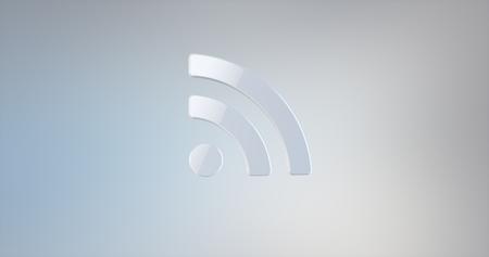 icon 3d: RSS White 3d Icon Stock Photo