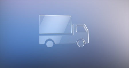icon 3d: Delivery Truck Glass 3d Icon Stock Photo