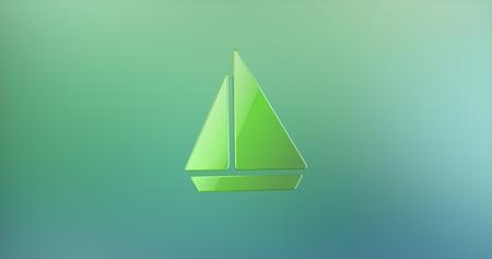 color 3d: Sea Boat Color 3d Icon Stock Photo