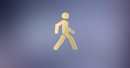 Paso de peatones caminando Hombre en Oro 3d Icono