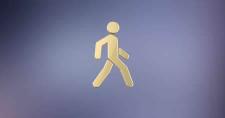 paso peatonal: Walking Man on Crosswalk Gold 3d Icon