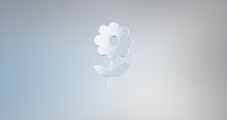 icon 3d: Flower White 3d Icon Stock Photo