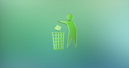 Trash Man Color 3d Icon Stock Photo