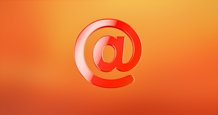 computer animation: Mail At Sign Red 3d Icon Stock Photo