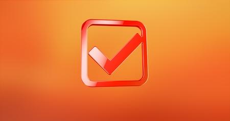 Check Box Red 3d Icon