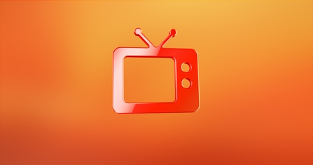 Television TV Red 3d Icon Stock Photo