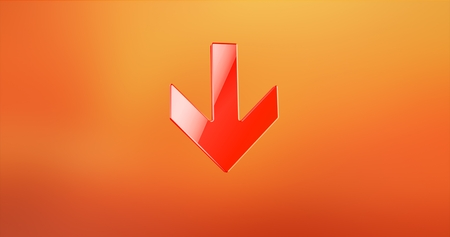 Arrow Down Red 3d Icon Stock Photo