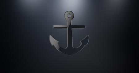 3d boat: Sea Anchor Black 3d Icon