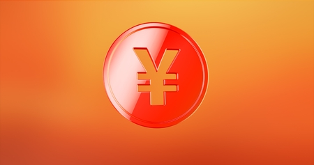 Coin Japanese Yen Red 3d Icon