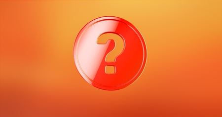 Question Badge Red 3d Icon Stock Photo