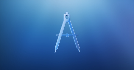 Engineer Architect Compass Blue 3d Icon Stock Photo