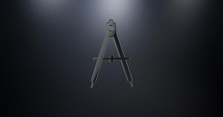 Engineer Architect Compass Black 3d Icon