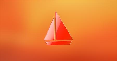 3d boat: Sea Boat Red 3d Icon