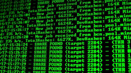 Mining Cryptocurrency process program on display PC. Using Software. Share Found. Stock Photo