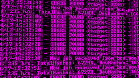 Mining Cryptocurrency process program on display PC. Using Software. Share Found. Magenta Color