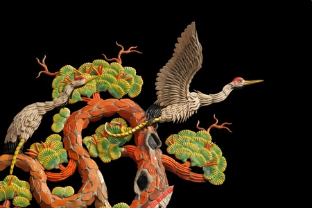 Asian temple crane motif photo