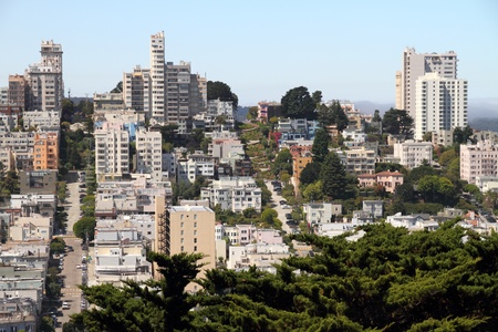 bay area: San Francisco street view - includes famous Lombard street  in distance Stock Photo
