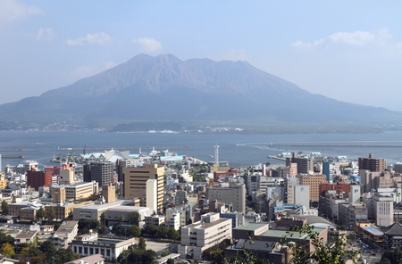 Kagoshima und Mt. Sakurajima, Kyushu, Japan Lizenzfreie Bilder
