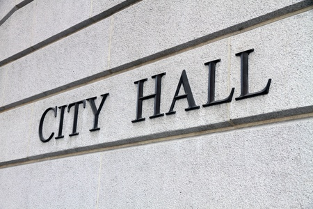 government: City Hall Sign Stock Photo
