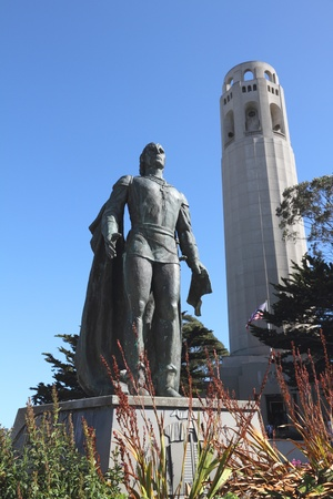 coit: Columbus statue and Coit Tower  in San Francisco Stock Photo