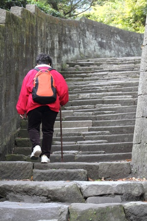 Elderly woman with cane going up stairs Banco de Imagens
