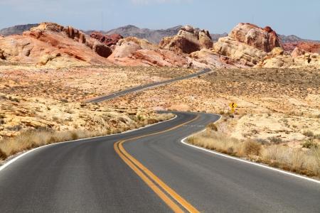 Winding road through desert