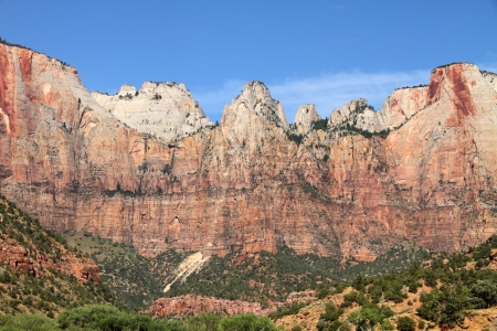 zion:  Zion National Park, Utah  West Temple and Altar of Sacrifice  Stock Photo