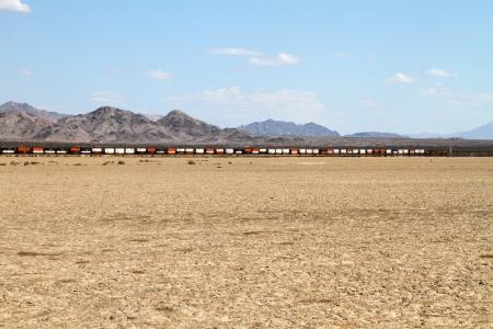 Freight Train in a desert Landscape