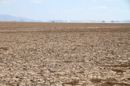a mirage: drought land and mirage  Stock Photo