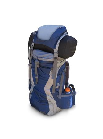 バックパック: 白で隔離されるハイキングのバックパック