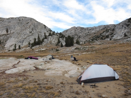 Tent camping in the mountains Stok Fotoğraf