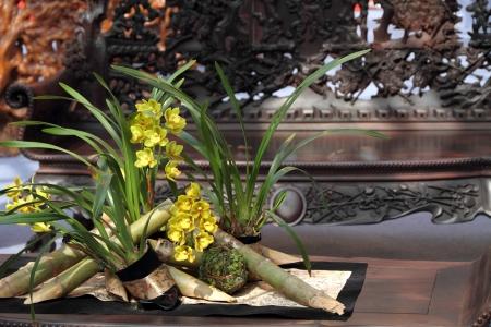 Flower bouquet in oriental style living room
