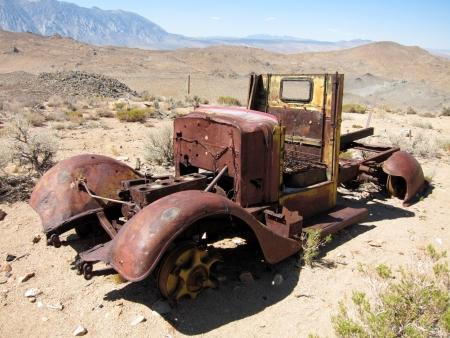 abandoned car: Abandoned and rusty car