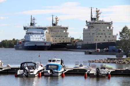 Icebreakers docked in the port Helsinki Finland