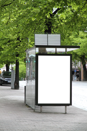 Bus station with blank billboard