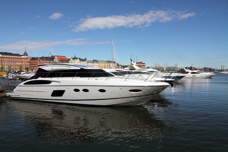 Luxury private speed boats in Helsinki harbor