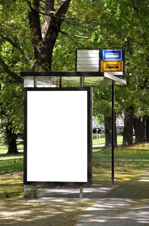 Blank billboard on a bus station Stok Fotoğraf - 43582329